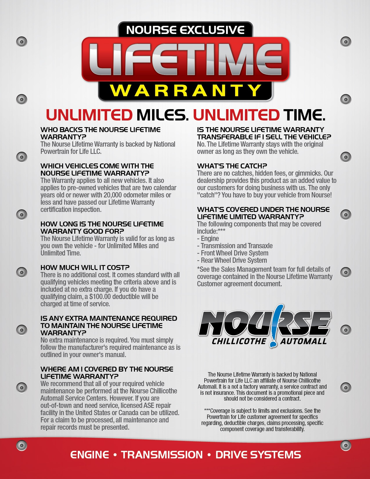 Nourse Lifetime Warranty Unlimited Miles Unlimited Time
