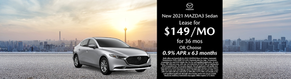 New 2021 Mazda3 Sedan Lease for $149/mo for 36 months