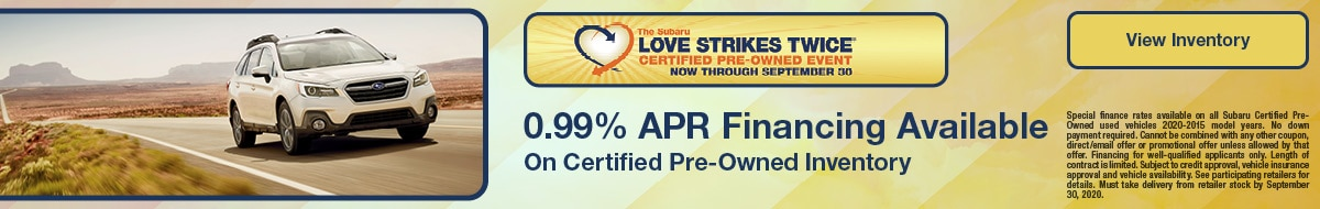 0.99% APR Financing On Certified Pre-Owned Inventory
