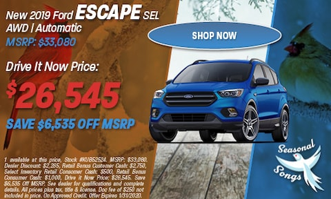 New 2019 Ford Escape SEL AWD | Automatic MSRP: $33,080