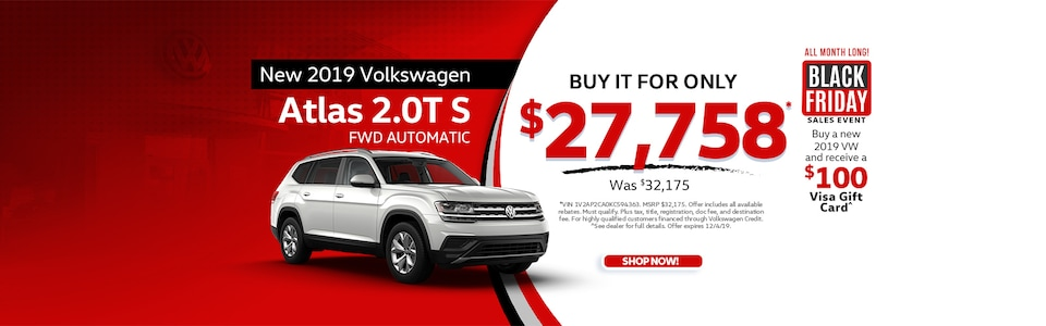 New 2019 Volkswagen Atlas 2.0T S FWD Automatic
