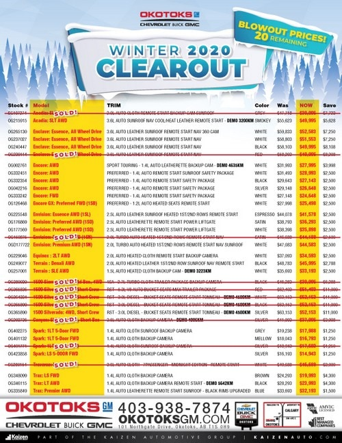 Winter 2020 Clearout - Blowout Prices!