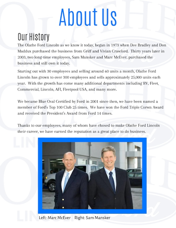About Olathe Ford Lincoln In Olathe Ks Ford Dealer Information