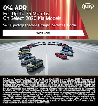 0% APR For Up To 75 Months On Select 2020 Kia Models