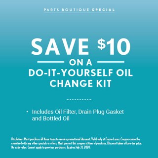 Save $10 on a Do-it-Yourself Oil Change Kit