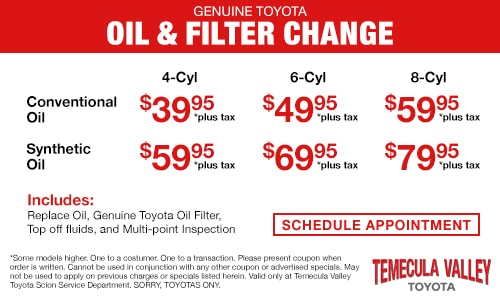 Toyota Oil Change Coupon >> Service Specials Temecula Valley Toyota Temecula Ca 92591