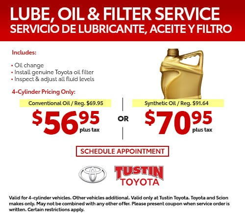 Toyota Oil Change Coupons >> Service Specials Orange County Tustin Toyota