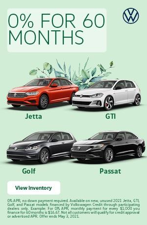 0% For 60 Months Jetta GTI Golf Passat - March