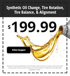 Synthetic Oil Change, Tire Rotation, Tire Balance, & Alignment
