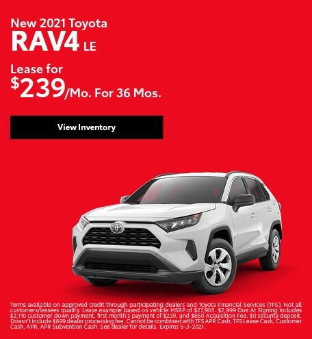 New 2021 Toyota RAV4 LE April