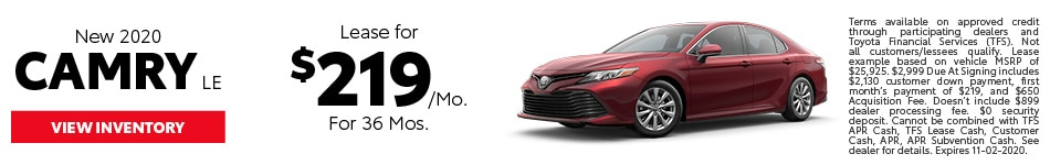 New 2020 Camry LE October