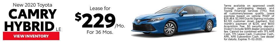 New 2020 Toyota Camry Hybrid LE October