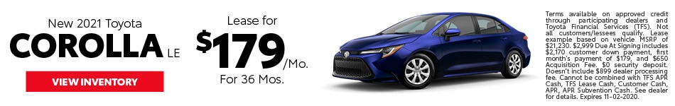 New 2021 Toyota Corolla LE October