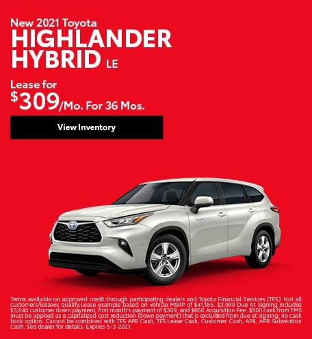 New 2021 Toyota Highlander Hybrid LE April