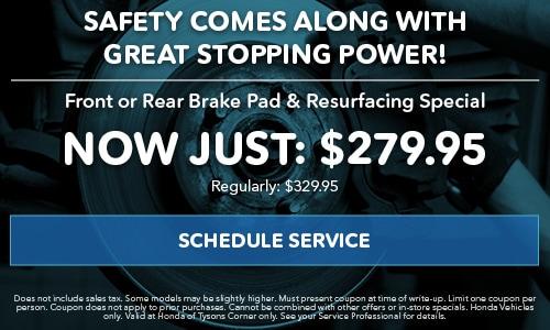 Front or Rear Brake Pad & Resurfacing Special
