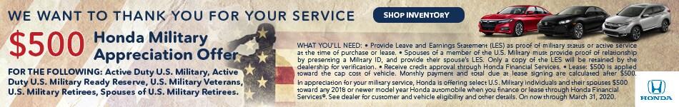 2019 Honda Military Offer