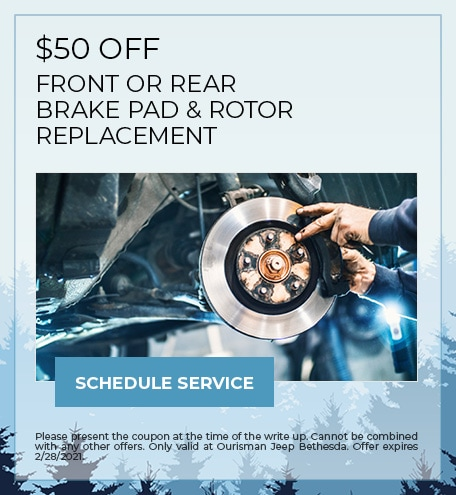 $50 OFF FRONT OR REAR BRAKE PAD & ROTOR REPLACEMENT - February Special