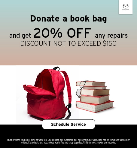 August   Donate Book Bag, 20% off repairs