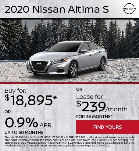Lease a 2020 Nissan Altima for $239/month or Buy for $18,895