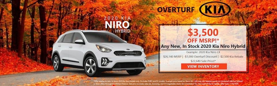 Save $3,500 Off MSRP (After Rebate)! Any New, In Stock 2020 Kia Niro