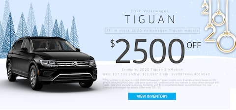 $2,500 Off MSRP on any new, in stock 2020 VW Tiguan