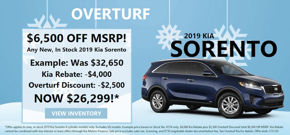 Save $6,500 Off MSRP on Any New, In Stock 2019 Kia Sorento!