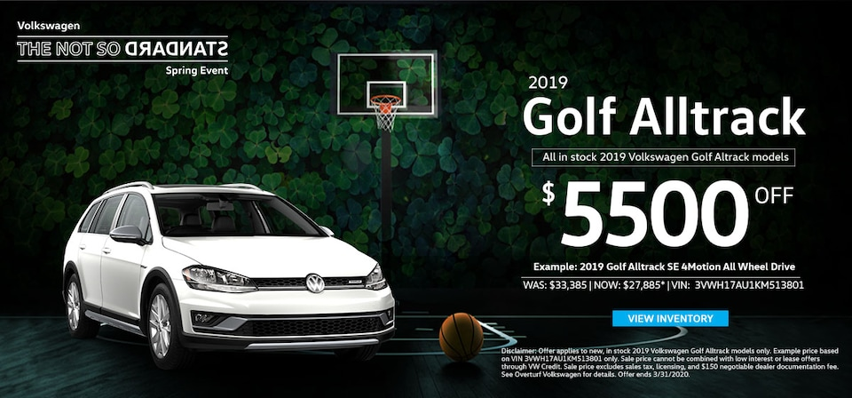 $5,500 Off MSRP on any New, In Stock 2019 Volkswagen Golf Alltrack!