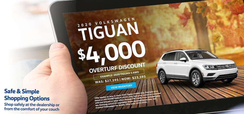 Save $4,000 Off MSRP on any new, in stock 2020 Volkswagen Tiguan!