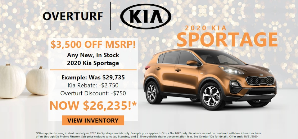 Save $3,500 Off MSRP on Any New, In Stock 2020 Sportage!