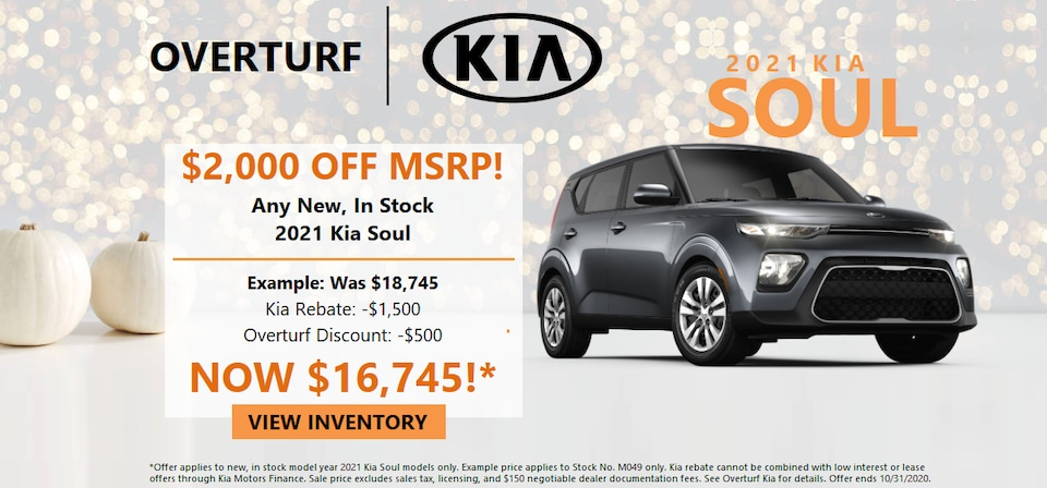 Save $2,000 Off MSRP on any new, in stock 2021 Kia Soul!
