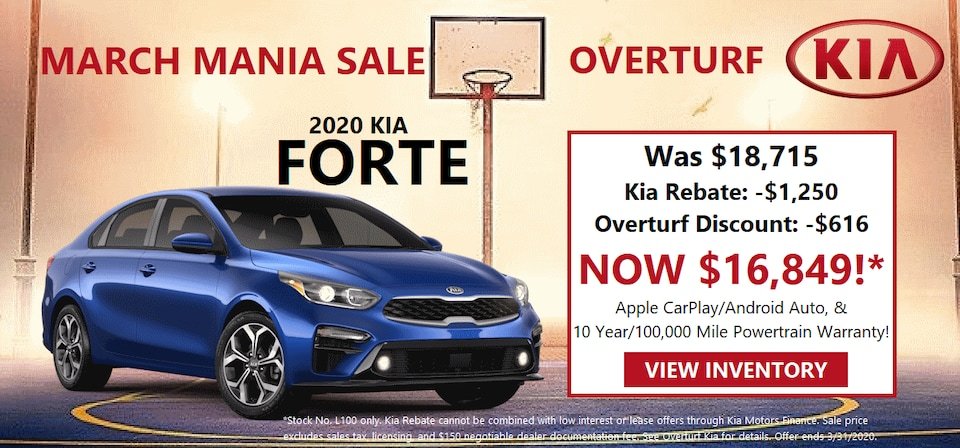 Save $1,866 on a 2020 Kia Forte! (Stock No. L100)