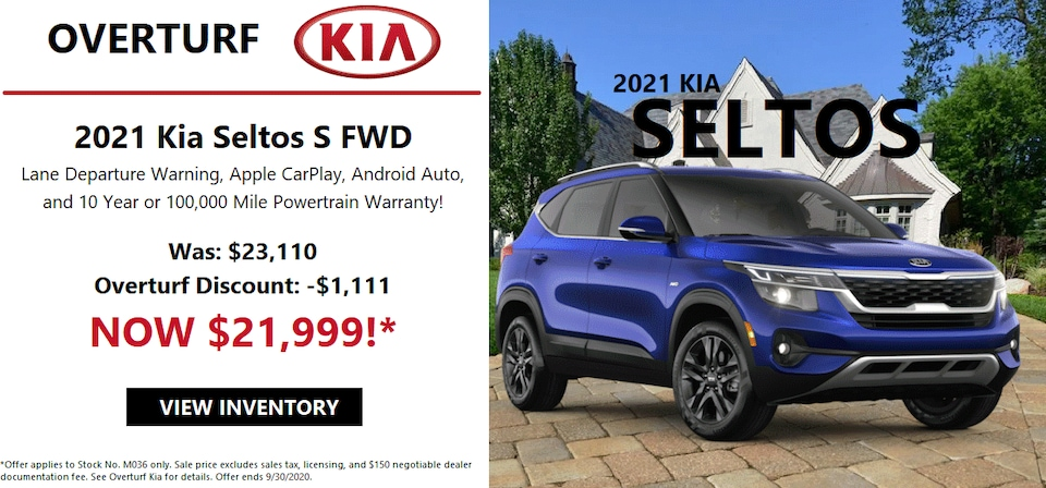 Save $1,111 Off MSRP on this 2021 Kia Seltos!