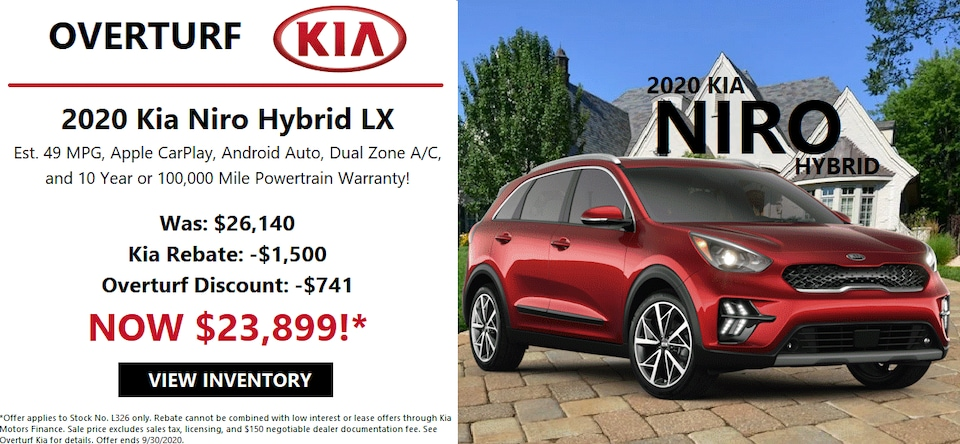 Save $2,241 Off MSRP on a 2020 Kia Niro!