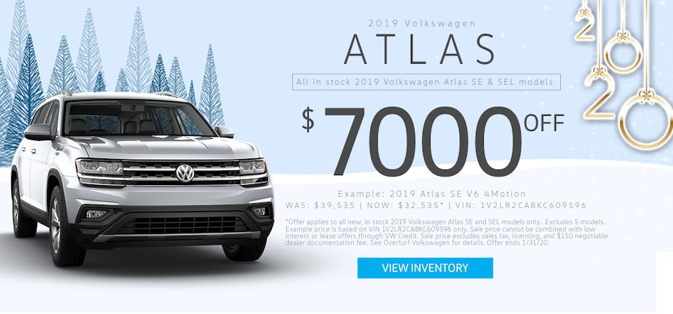 $7,000 Off MSRP any new, in stock 2019 VW Atlas (SE and SEL)