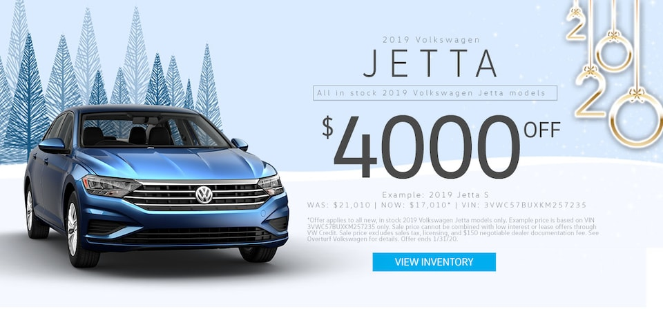 $4,000 Off MSRP on any new, in stock 2019 VW Jetta