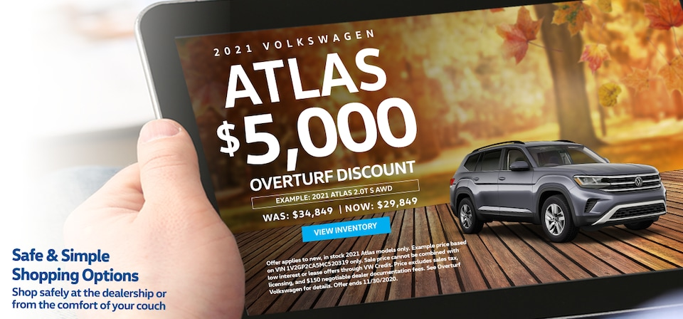 Save $5,000 Off MSRP on any new, in stock 2021 Volkswagen Atlas!