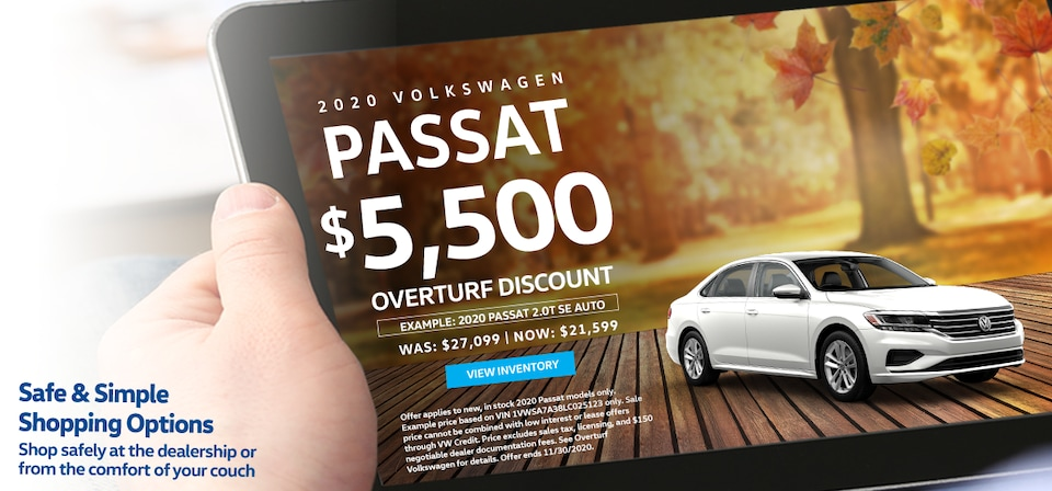 Save $5,500 Off MSRP on any new, in stock 2020 Volkswagen Passat!