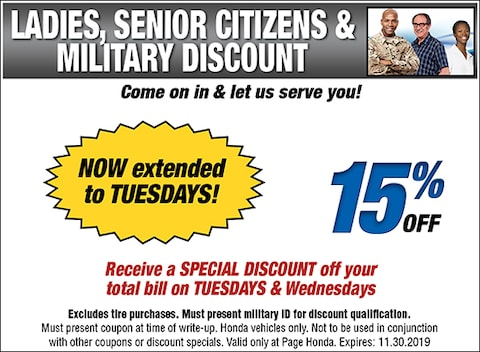 15% Off for Ladies, Seniors, & Military on Tuesdays and Wednesdays - S