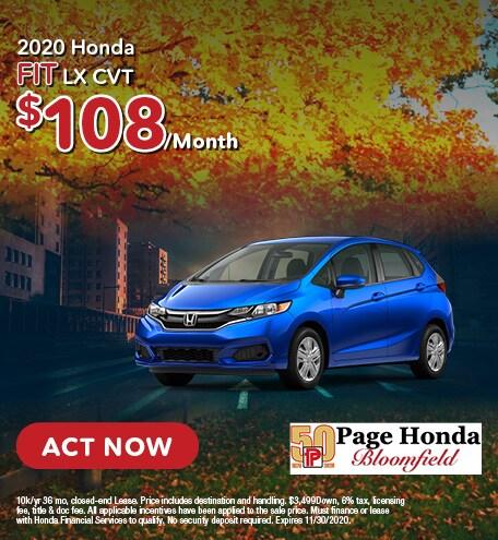 2020 Honda Fit LX CVT - Lease