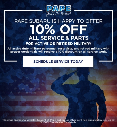 Pape Subaru Is Happy To Offer 10% Off All Service & Parts