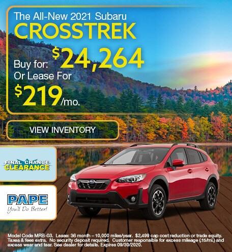 2021 Subaru Crosstrek September Offer