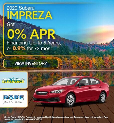 2020 Subaru Impreza September Offer