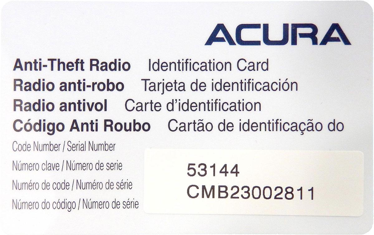 acura radio serial number location