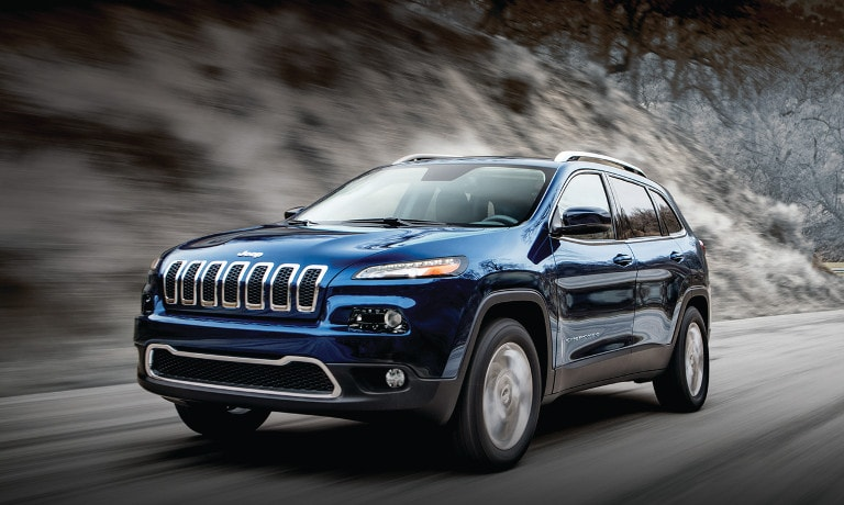 A blue 2017 Jeep Cherokee