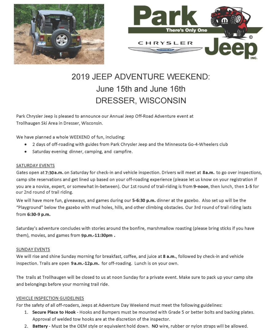 Sign Up For Jeep Adventure Weekend 2019 Park Chrysler Jeep