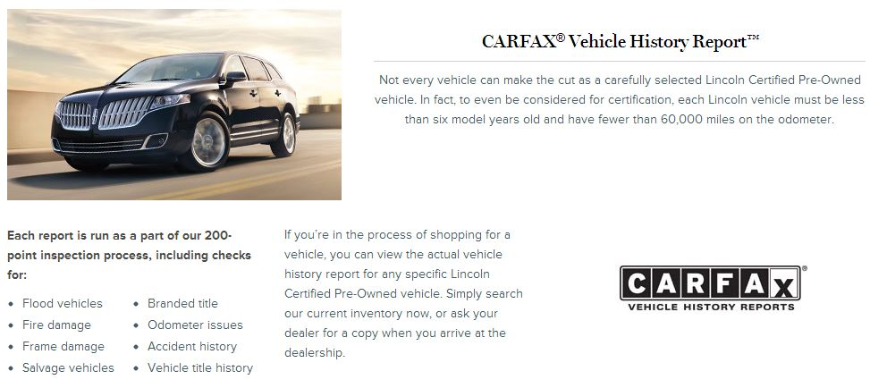 Carfax Vehicle History Report On Certified Pre Owned Lincolns At