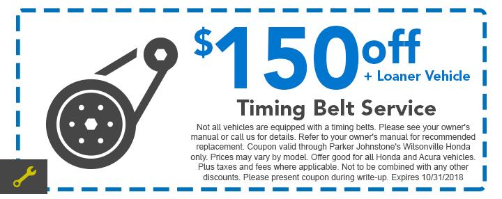 Honda Service Coupon   Timing Belt Service + Loaner Vehicle