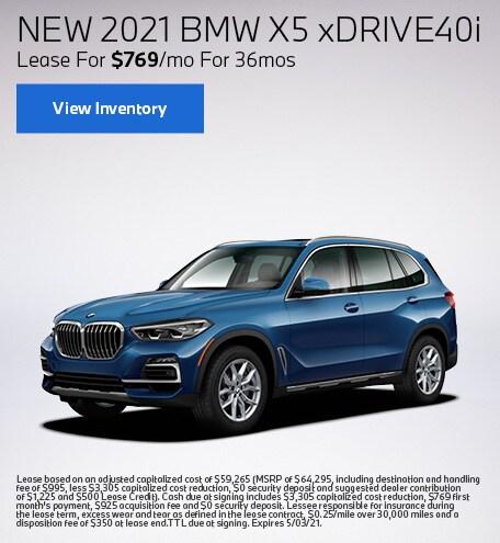 New 2021 BMW X5 xDrive40i