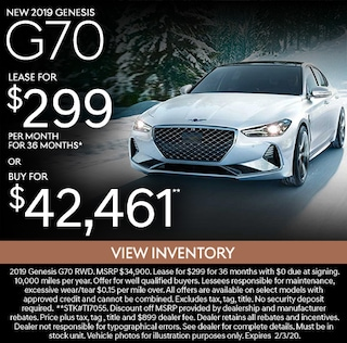 New 2019 Genesis G70 Lease for $299/mo for 36 months*