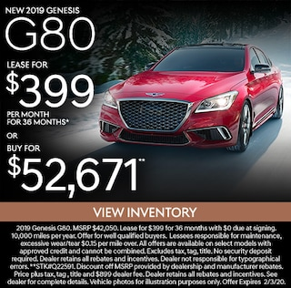 New 2019 Genesis G80 Lease for $399/mo for 36 months*